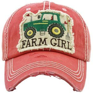 Farm Girl Pink Salmon Distressed Adjustable Hat